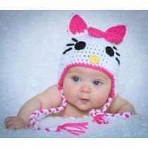 Gorrito De Crochet Estilo Hello Kitty