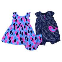 Conjunto Tres Piezas Carters Niña. Pañalero,vestido Y Calzón