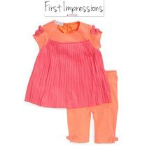 Conjunto 3/6 Meses Macys Naranja Nina Rosa Blusa Leggings Ve