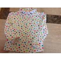Blusa Camisa Bebe Niña Blanca Lunares Colores Manga 24 Meses