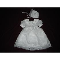 Nuevo Vestido Blanco Bautizo Ropon Con Gorrito 2-3 Años
