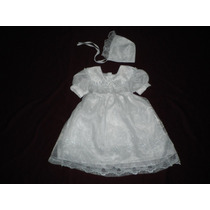 Nuevo Vestido Con Gorrito Blanco Bautizo Ropon 12-18 M