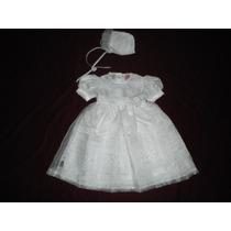 Nuevo Vestido Blanco Bautizo Ropon Con Gorrito 3 Años