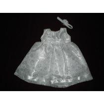 Nuevo Vestido Blanco Bautizo Glitter Brilloso 9-12 M Ropon