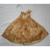 Nuevo Dress Vestido Satinado Dorado 2 3 Años Fiesta Pajecita