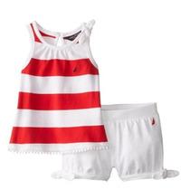 Ituxs I Nautica Conjunto Niña Rojo/blanco Nuevo Envío Gratis