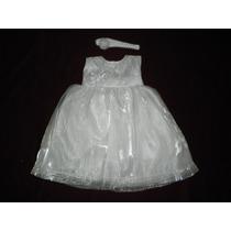Nuevo Vestido Blanco Plateado Bautizo Ropon 9-12 Bautizo