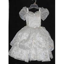 Precioso Vestido Fiesta Tipo Princesa Con Dorado 3-4 Años