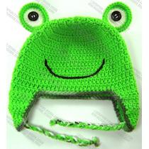 Gorras De Ranita Tejidas Estambre Crochet Para Adulto Y Bebé
