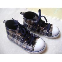 Zapatos Botita Gap Azul Marino Cuadros Bebe Niño 18cm Suela