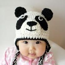 Gorras Tejidas De Panda Estambre Crochet Para Adulto Y Bebé