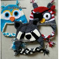Gorro Búho Mapache Crochet Tejidos