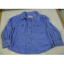 Camisa Manga Larga Azul De Pana Para Bebe 24 Meses