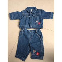 Pantalon Y Chaqueta Mezclilla Para Bebes De 2 A 4 Kilos .