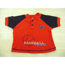 Camisa Para Bebe Niño Talla 12 Meses Adorno De Baseball