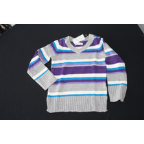 Sweater Gris Rayas Moradas/azul Childrens Place Talla 7-8