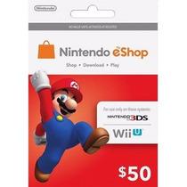 Tarjeta Gift Card Nintendo Eshop $50 Usd Para Juegos Wii 3ds