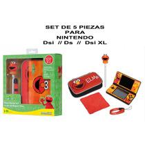 Set 5 Piezas Nintendo Ds, Dsi, Dsi Xl Elmo Estuche En Caja
