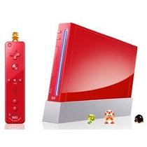 Consola Wii Roja Mario Bros, Bateria, Microfono Y Guitarra