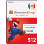Tarjeta Gift Card Nintendo México $12 Usd Wii U 3ds Gratis