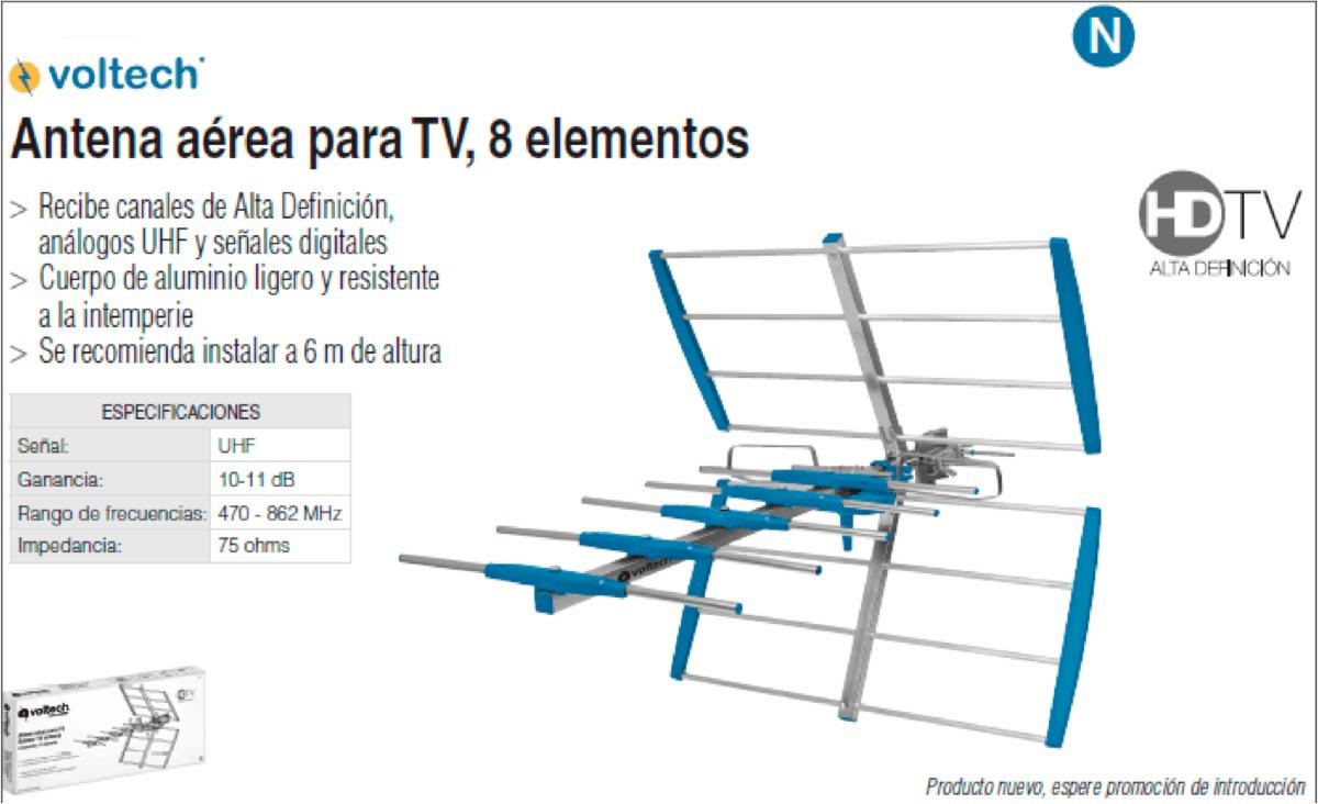 Oferta antena aerea para tv 8 elementos hdtv voltech - Precios de antenas de television ...