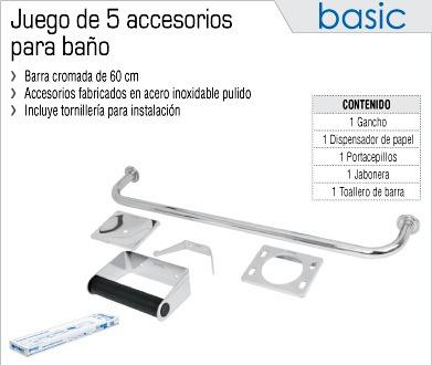 Oferta juego de 5 accesorios para ba o marca foset wc for Juego de accesorios para bano de ceramica