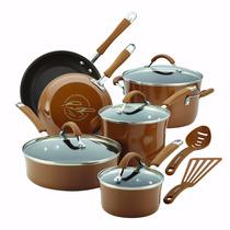 Bateria De Cocina Rachael Ray Esmalte Porcelana 12 Pzas Cafe