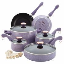 Bateria De Cocina Paula Deen Firma Porcelana 15 Pz Lavanda