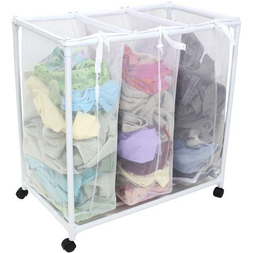 Organizador de ropa de lavanderia cesto de ropa 3 espacios - Organizador de lavanderia ...