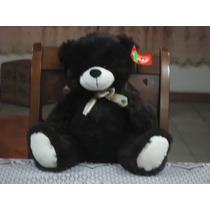Tierno Oso De Peluche Mediano C/moño Color Chocolate 50 Cm.
