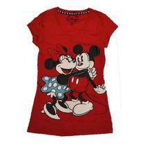 Minnie Y Mickey Mouse Abrazo Cuello En V Junior T-shirt