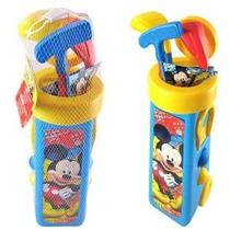 Mickey Mouse Con Golf Caddy Y 3 Palos De Golf En Bolsa De Re