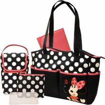 Pañalera Disney Minnie Mouse 5 En 1 Set + Oferta Del Mes