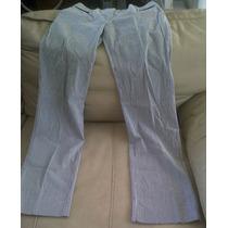 Pantalón Casual Dama Rayado Marca M N G Suit Gris/blanco Maa