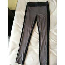 Pantalón Leggings Gris Negro Y Piel Vinil T Zara Talla 9