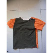 Camiseta Talla Ch Para Niño Color Naranja Y Verde