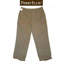 Si Envio Perry Ellis 38x30 Pantalon Vestir Beige Pinzas Homb
