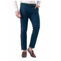 Pantalón Vestir Casual Azul Marino Con Cinturon 0736