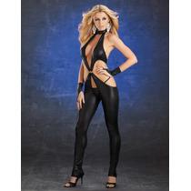 Moda Sexy Body Negro De Vinyl Amplio Escote Guantes Y Tanga