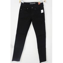 Pantalon Aéropostal Negro De Mezclilla Estrech Entubado T 12