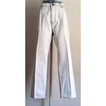 Pantalon Mezclilla Beige Claro O Blanco Dama Recto Talla 36