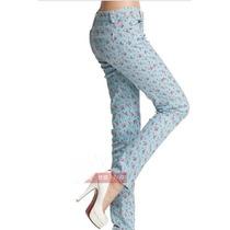 Suku 60493 Jeans Skinny Estampado Flores Moda Japón $569