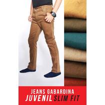 Jeans Juvenil Corte Skinny Gabardina Colores - Envíogratis