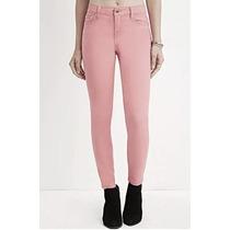 Forever 21 Jeans Skinny Entubados Rosa Palido Stretch M - L