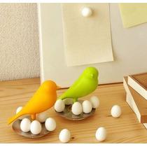 Imanes De Huevos Con Gorrión Verde Ó Amarillo Decorativos