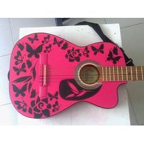 Stickers Vinil Custom Girl Guitar Flowers, Buterfly And Bird