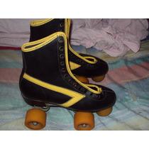 Patines Clasicos Dos Ejes, Color Negro/amarillo Talla 5