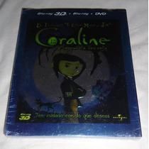 Coraline. Pelicula En 3d. Combo: Blu-ray 3d+blu-ray+dvd