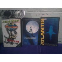 Lote De 3 Vhs Documentales Atlantis Microcosmos Y Arañas 3d