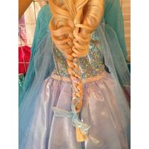 Disfraz Elsa Frozen Con Capa De Hielo Peluca Zapatos Y Coron